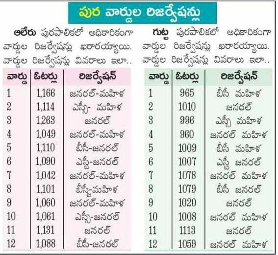 Alair Municipality elections 2020 12 wards reservation list
