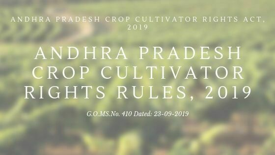 Andhra Pradesh Crop Cultivator Rights Rules, 2019
