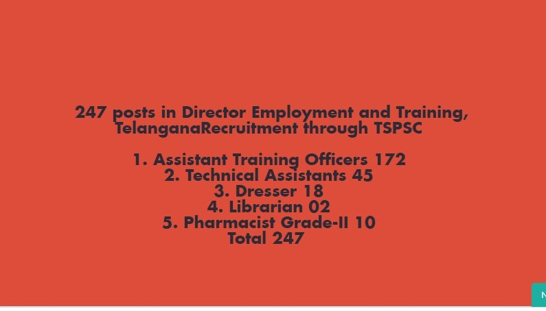 247 posts in Director Employment and Training, Telangana