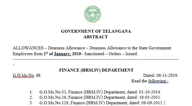 Dearness Allowance to Telangana State Government  Employees
