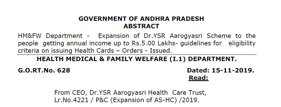YSR Aarogyasri Scheme guidelines for 5 Lakhs Income group