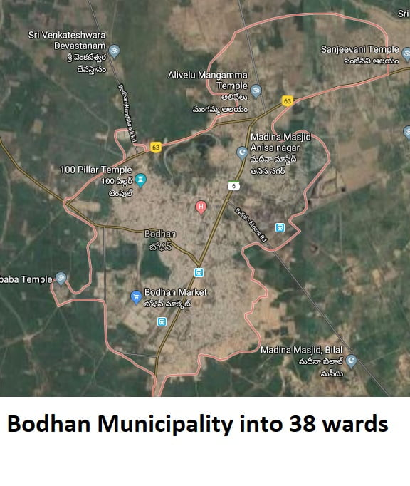Bodhan Municipality into 38 wards