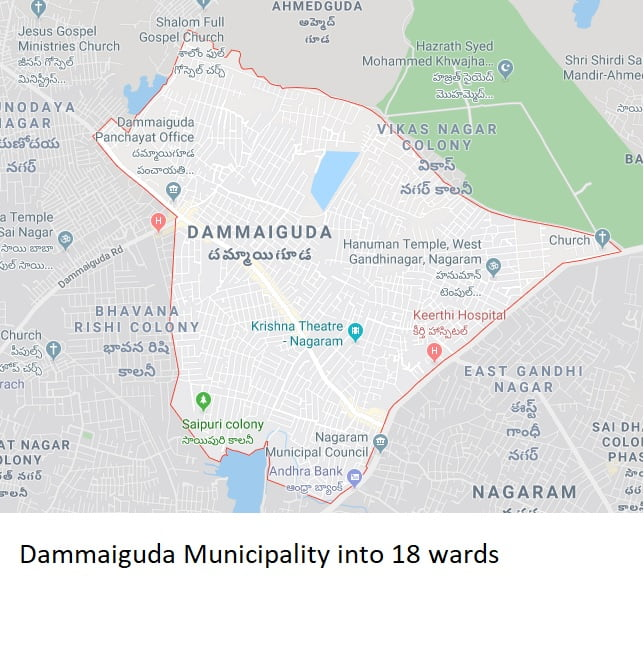 Dammaiguda Municipality into 18 wards