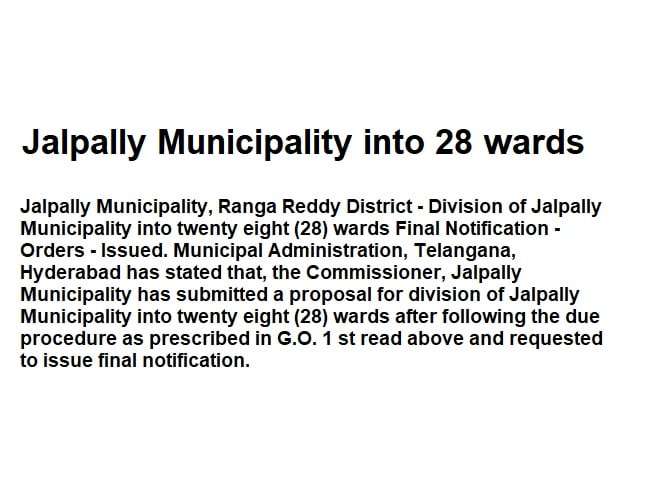 Jalpally Municipality into 28 wards