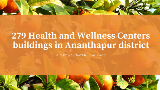 279 Health and Wellness Centers buildings in Ananthapur district